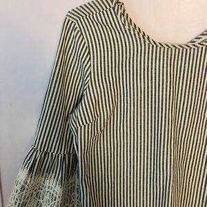 grey and white striped top w/ bell sleeves
